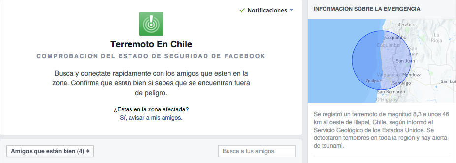 Facebook. Terremoto en Chile